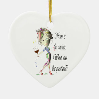 Wine is the answer, what was the question? ceramic heart decoration