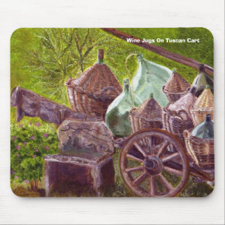 Wine Jugs On Tuscan Cart Mouse Pad
