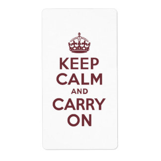 Wine Keep Calm and Carry On Shipping Label