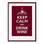 """WINE: """"KEEP CALM AND DRINK WINE"""" CARDS"""