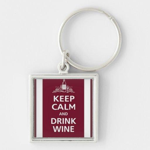 "WINE: ""KEEP CALM AND DRINK WINE"" KEYCHAIN"