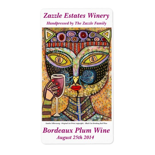 Wine Label - Black Cat Drinking Red Wine Shipping Label