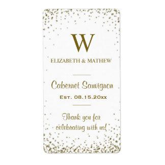 Wine Label Gold Confetti