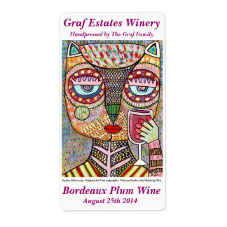 Wine Label Jewish Feathers Owl Drinking Red Wine Shipping Label