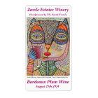 Wine Label - Talavera Pink Owl Drinking Red Wine