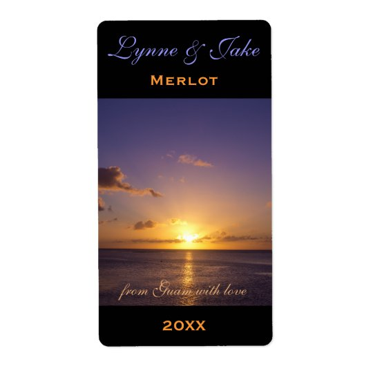 Wine Label Template Tropical Island Sunset Violet
