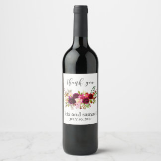 Wine Label Wedding Favours Thank You Watercolor