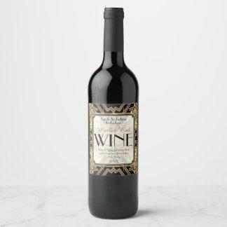 Wine Labels Art Deco Black Gold Geometric Pattern