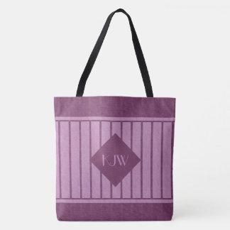 Wine Lavender Mongram Stripes Tote Bag