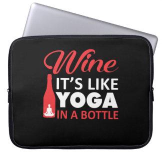 Wine Like Yoga In A Bottle Yoga Shirt Laptop Sleeve