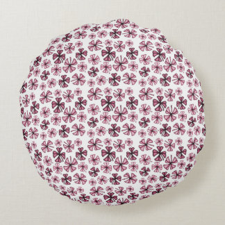 Wine Lucky Shamrock Clover Round Cushion