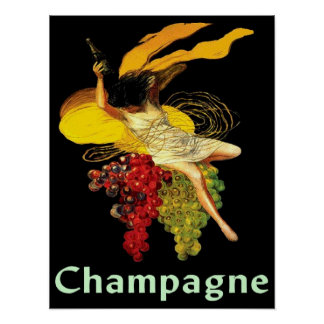 Wine Maid Champagne Poster