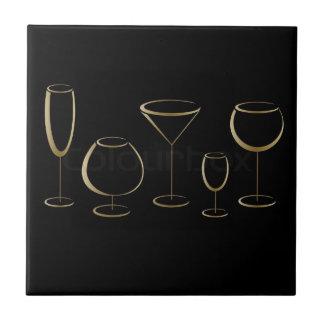 Wine Martini Glass Black and Gold Coasters