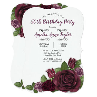 Wine  | Mauve Painterly Floral Birthday Party Card