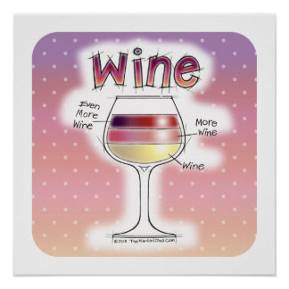 "WINE, MORE WINE, EVEN MORE WINE 18""x18"" Poster"