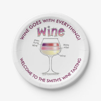 WINE, MORE WINE, EVEN MORE WINE PAPER PLATE