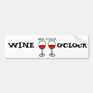 """WINE O'CLOCK"" FUN RED WINE PRINT BUMPER STICKER"