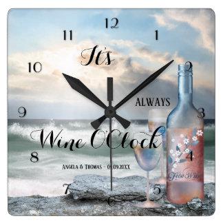 Wine OClock Romantic Beach Clock