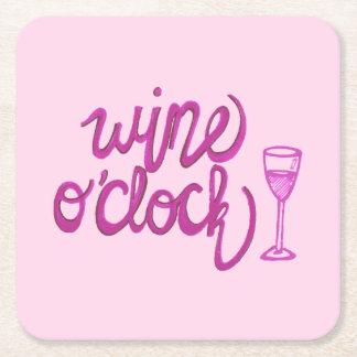 Wine O'Clock Square Paper Coaster