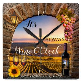 Wine OClock Vineyard Landscape Clock