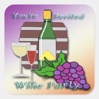 Wine Party Invitation envelope seal Square Sticker