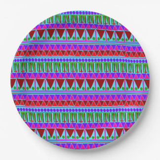 Wine Pink Aztec Stripes Pattern Boho Style Ethnic 9 Inch Paper Plate