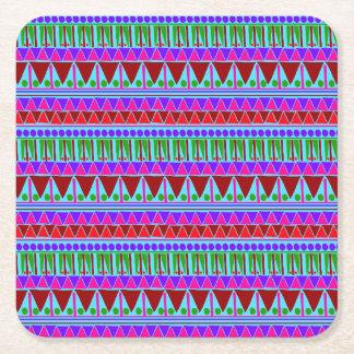 Wine Pink Aztec Stripes Pattern Boho Style Ethnic Square Paper Coaster