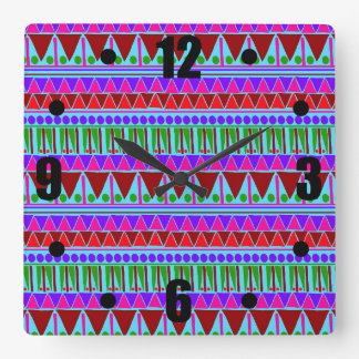 Wine Pink Aztec Stripes Pattern Boho Style Ethnic Square Wall Clock