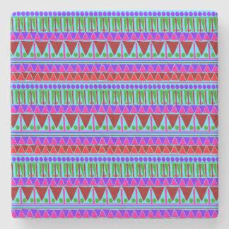 Wine Pink Aztec Stripes Pattern Boho Style Ethnic Stone Beverage Coaster