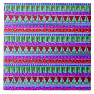 Wine Pink Aztec Stripes Pattern Boho Style Ethnic Tile