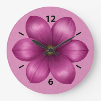 Wine Pink Flower Large Clock
