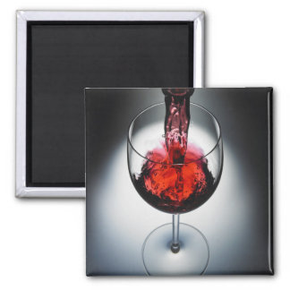 Wine poured in glass square magnet