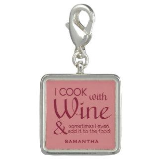 Wine Quote custom name charm / wristlet
