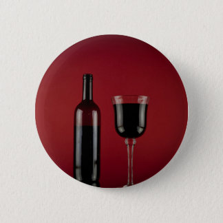 Wine red glass bottle 6 cm round badge