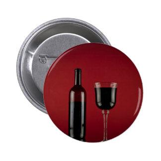 Wine red glass bottle 6 cm round badge