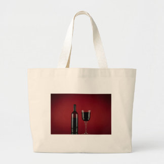 Wine red glass bottle large tote bag