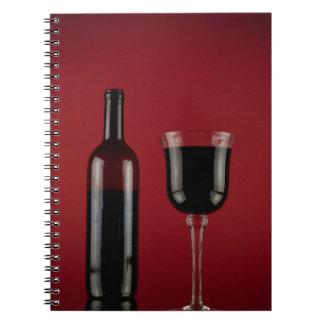 Wine red glass bottle notebooks