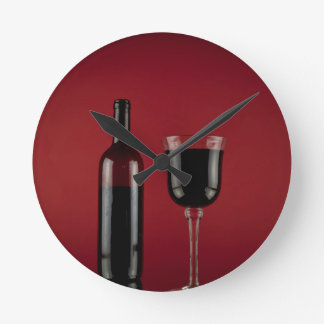 Wine red glass bottle round clock