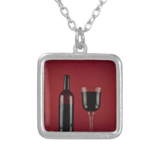 Wine red glass bottle silver plated necklace