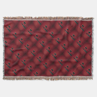 Wine red glass bottle throw blanket