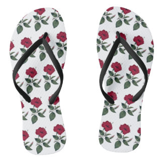 Wine Red Hibiscus Flower Thongs