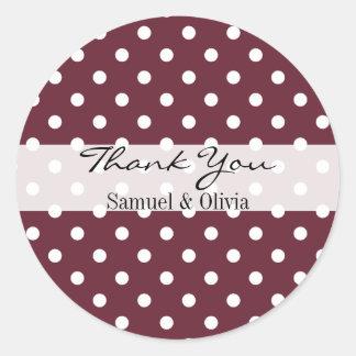 Wine Red Round Custom Polka Dotted Thank You Round Sticker