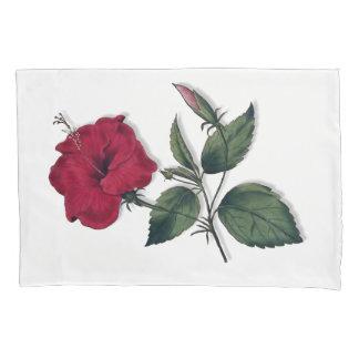 Wine Red Single Hibiscus Flower Pillowcase