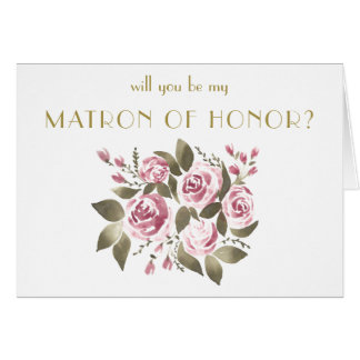 Wine Rose Bouquet Will You Be My Matron of Honor Card