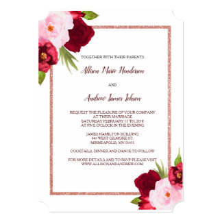 Wine Roses and Watercolor Wedding invitation
