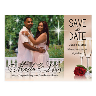 Wine & Roses Photo Save the Date Blush Pink Postcard