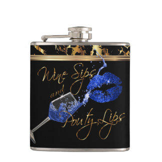 Wine Sips and Pouty Blue Lips Hip Flask