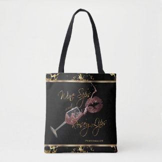 Wine Sips and Rosey Lips - Marble Tote Bag