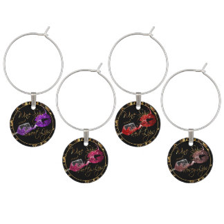 Wine Sips and Sweet Lips -  Marble Wine Charm