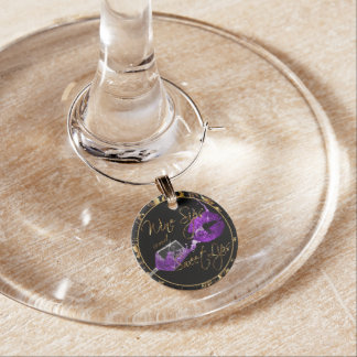 Wine Sips and Sweet Lips - Purple - Marble Wine Charm